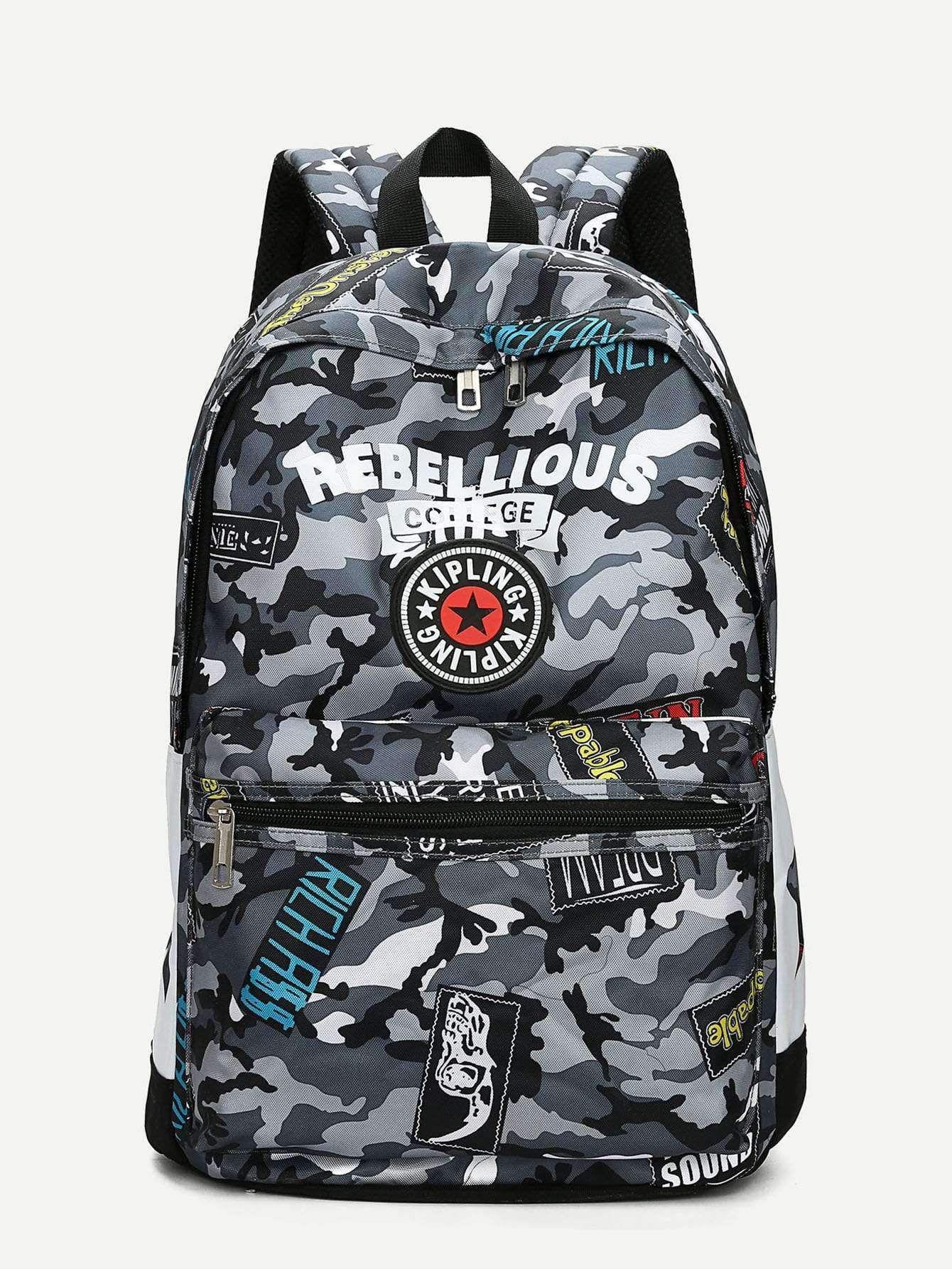 Men Camouflage Letter Print Backpack  #wheretobuy #mensbackpacks #childrensbackpack #ospreybackpacks #motorcyclebackpack #leatherbackpack #backpackshop #daypack #SmallBackpacks #backpack