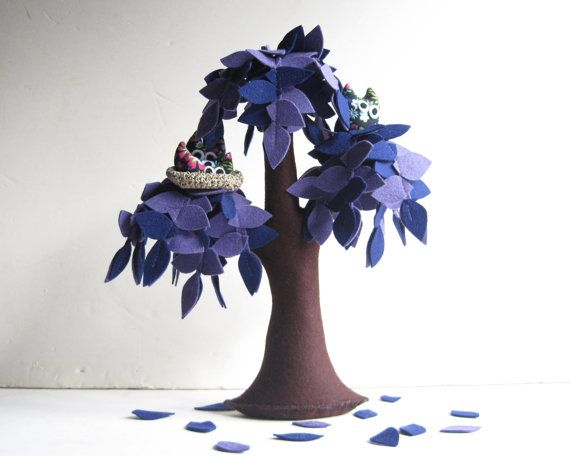Lilac Weeping willow with a family of owls  Felt Tree by Intres, $55.00