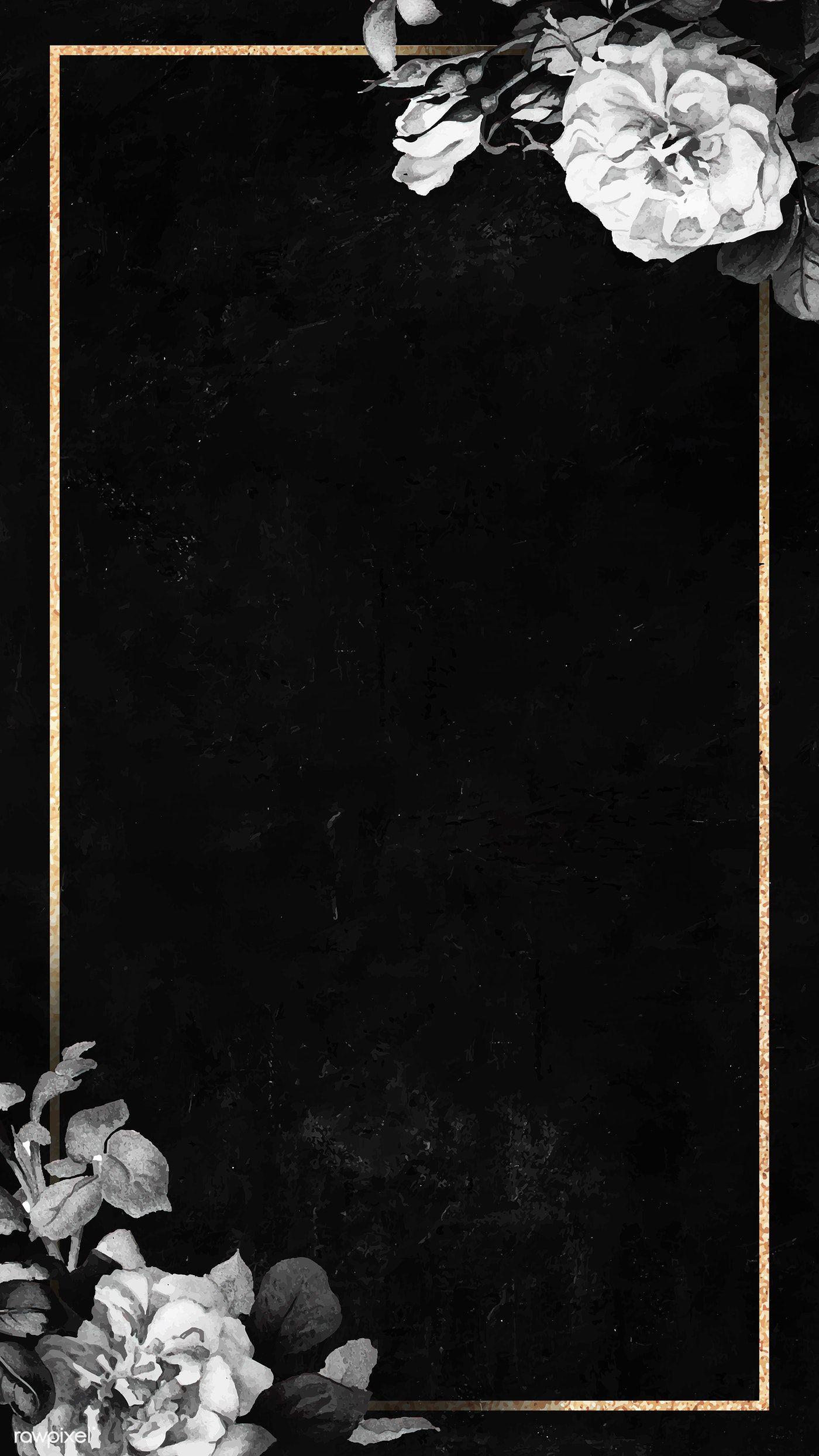 Download premium vector of blank floral golden frame