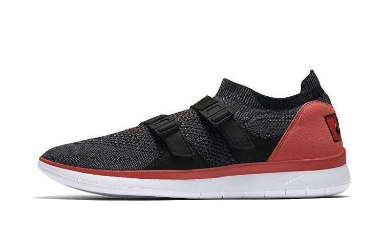 new product ada81 8983a Nike Air SockRacer Ultra Flyknit Mens Red BLK RN Sneakers 898022-600 Size  9.5