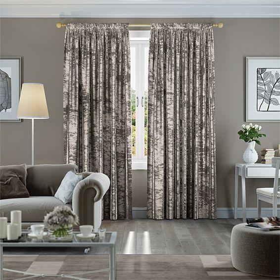 Crushed Velvet Mink Curtains Bedroom