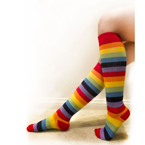 15f10f344 NEW-Women-Girls-Ladies-Knee-High-Socks-Rainbow -Colors-Stripes-Spandex-One-Size