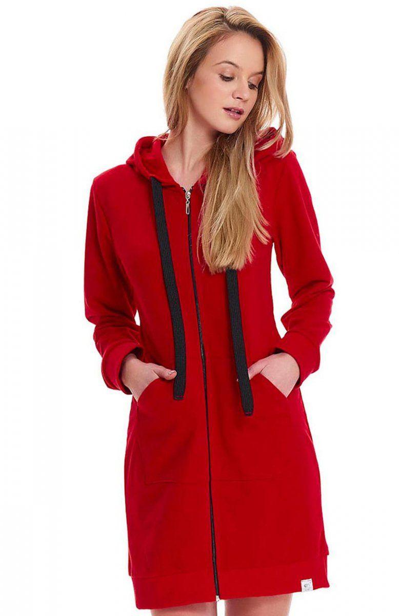 438183d00f9d90 Dobranocka SBZ.9428 szlafrok damski Wygodny bawełniany szlafrok damski, w  kolorze wyrazistej czerwieni, zapinany z przodu na zamek
