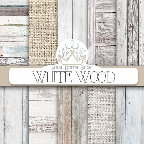 Wood Digital Paper WHITE WOOD With Background White Texture