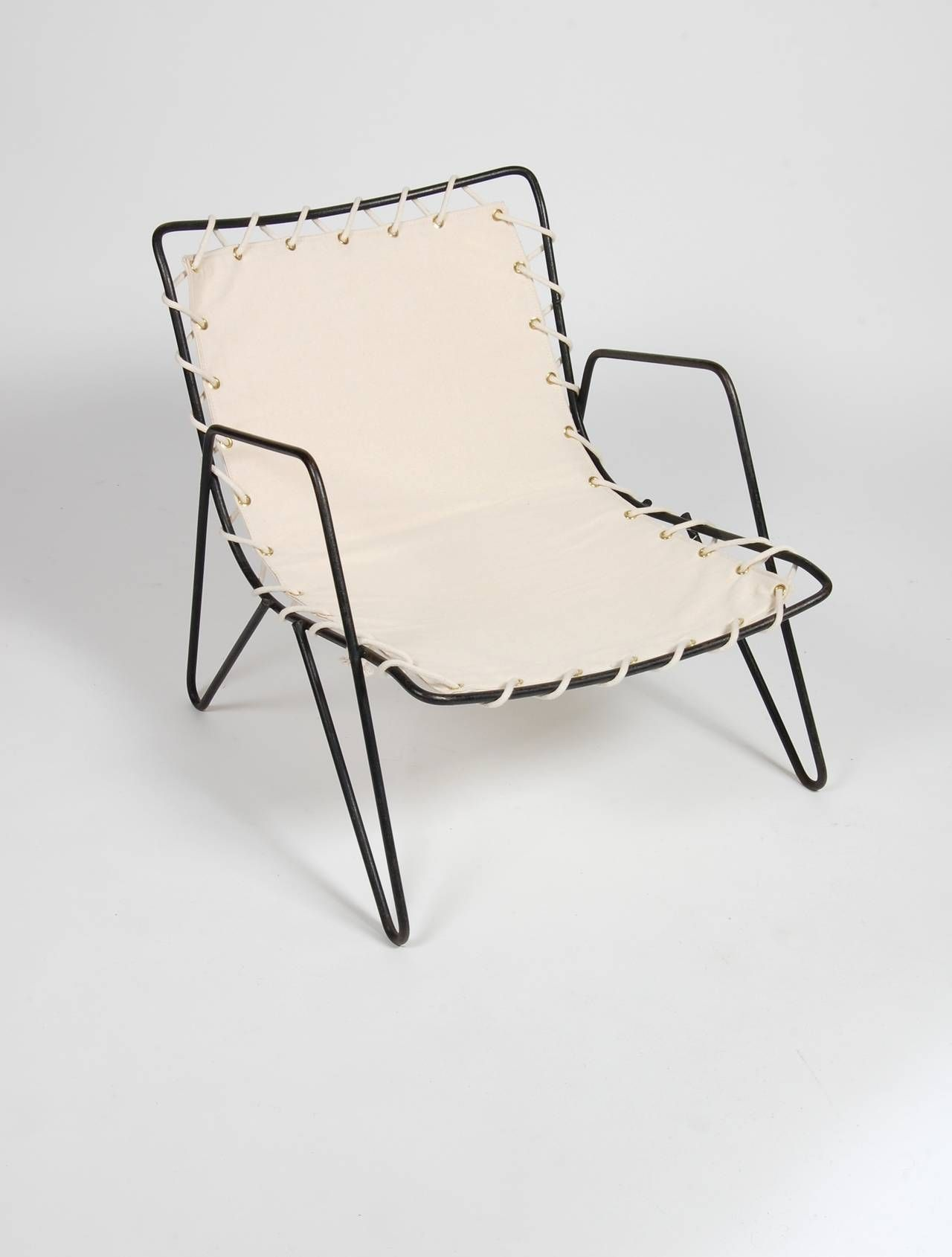modernist iron and canvas patio lounge chair image 2 modern