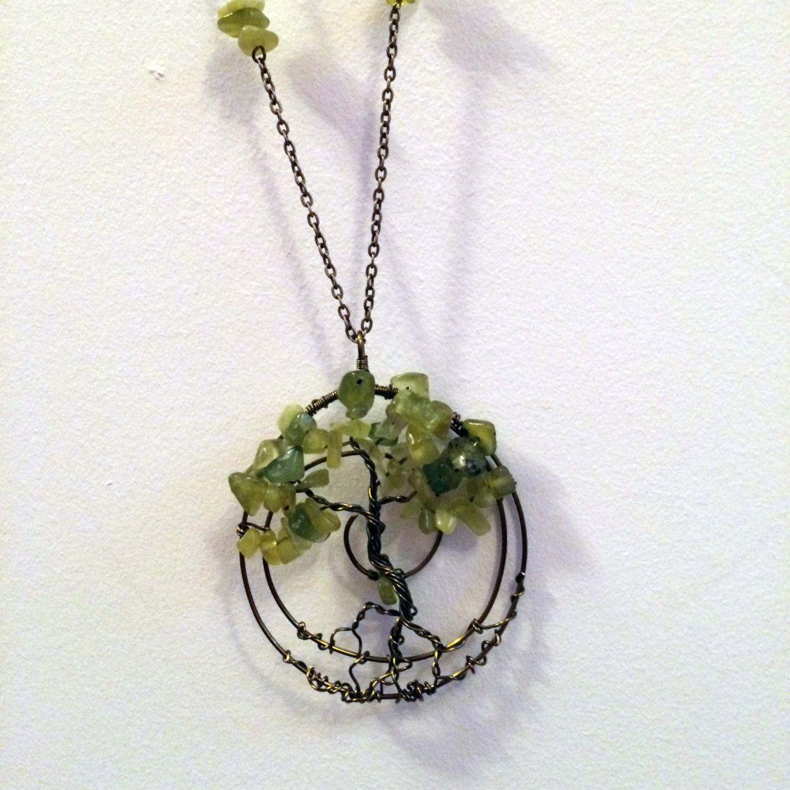 Spiritual Handmade Healing Olive Jade Gemstone Tree of Life Pendant Antique Bronze Wire Wrapped Necklace by GemstoneWireLove on Etsy