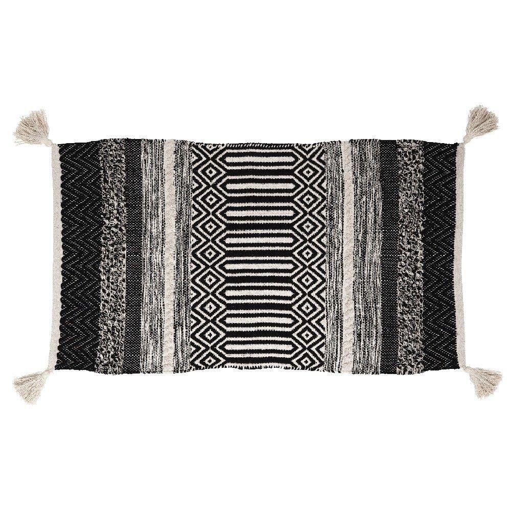 Soldes 2020 Tapis Deco A Pompons Tropical Blanc Noir Tapis Decoration Textile Linge De Maison Gifi Tapis Deco Tapis Parure Housse De Couette