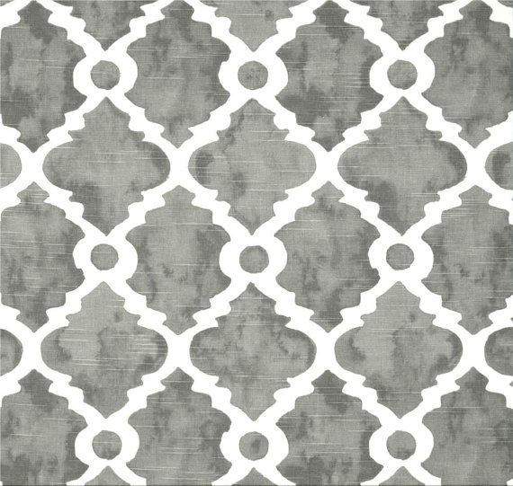 Gray Lattice Fabric Geometric Home Decor Fabric by the Yard