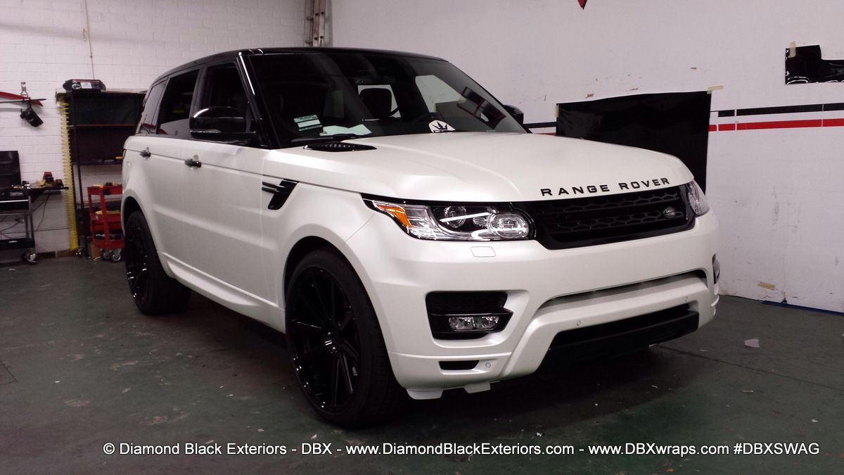 2014 range rover sport wrapped in satin pearl white by dbx diamond black exteriors