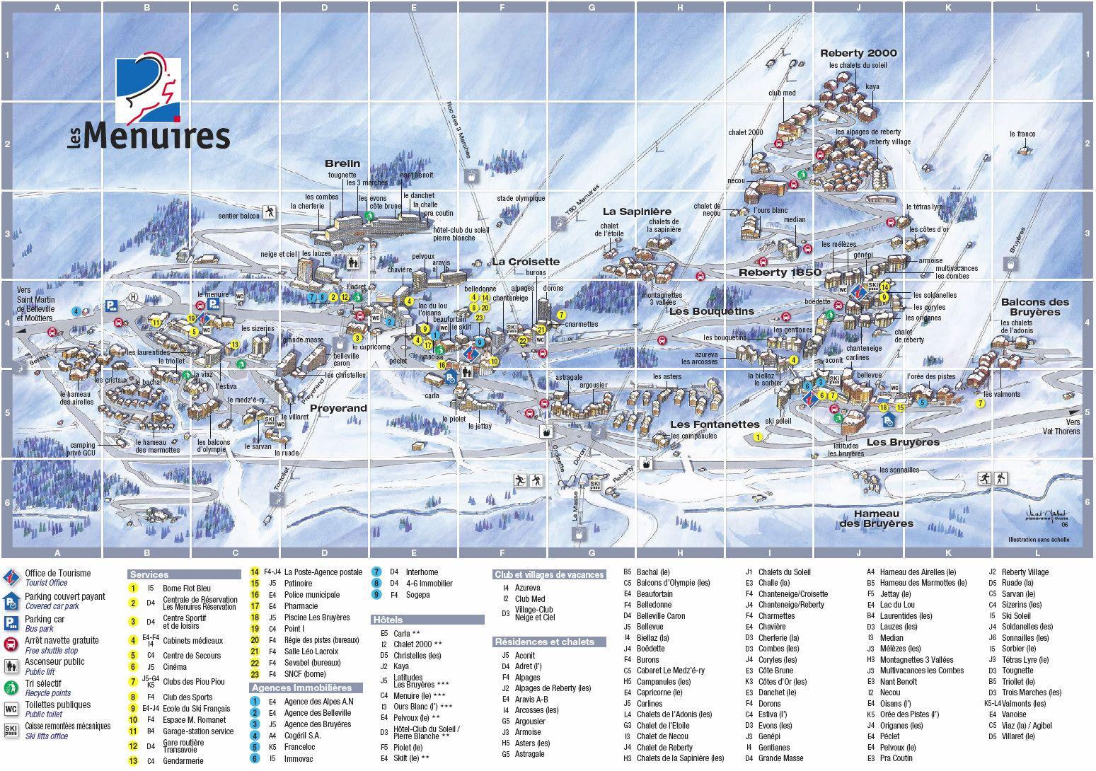 Plan Les Menuires ski Pinterest France