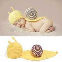 Wish | Handmade knitted wool clothing photography snail baby clothing HB181 (Color: Multicolor)