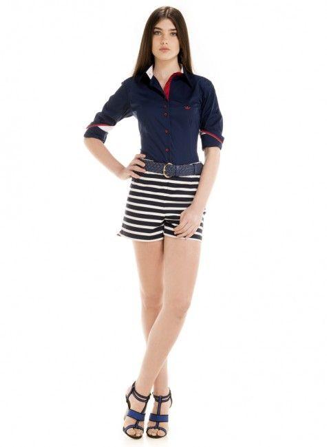 camisa feminina social principessa marinho look completo