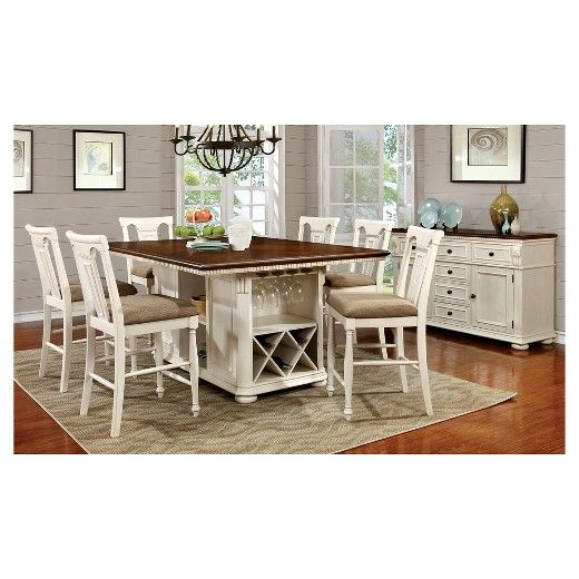 The Furniture Of America 7 Piece Country Storage Counter Height
