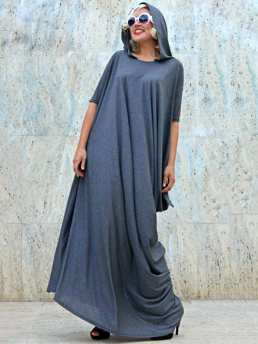 Adorewe teyxo gray hoodie solid half sleeve hline maxi dress