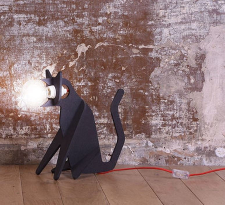 Lampe Chat Get Out Cat Noir H35cm Eno Studio Mid Century Table Lamp Contemporary Table Lamps Cats