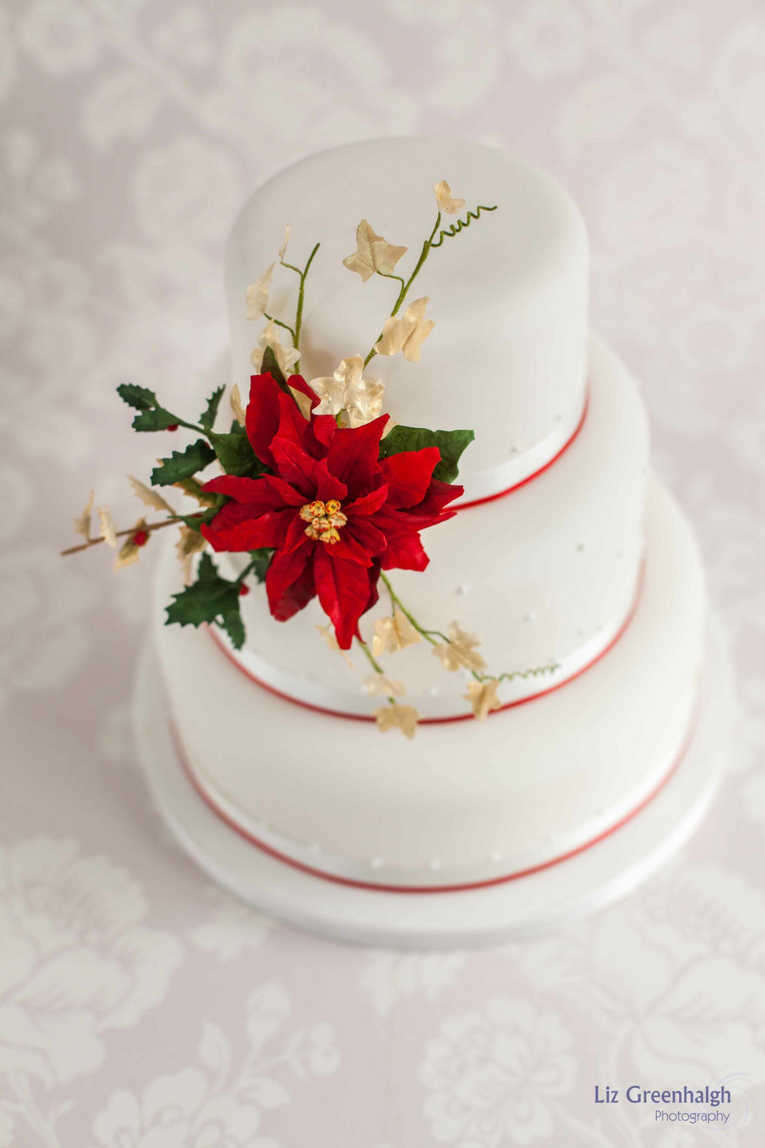 Poinsettia wedding cake | Wedding Stuff | Pinterest | Poinsettia ...