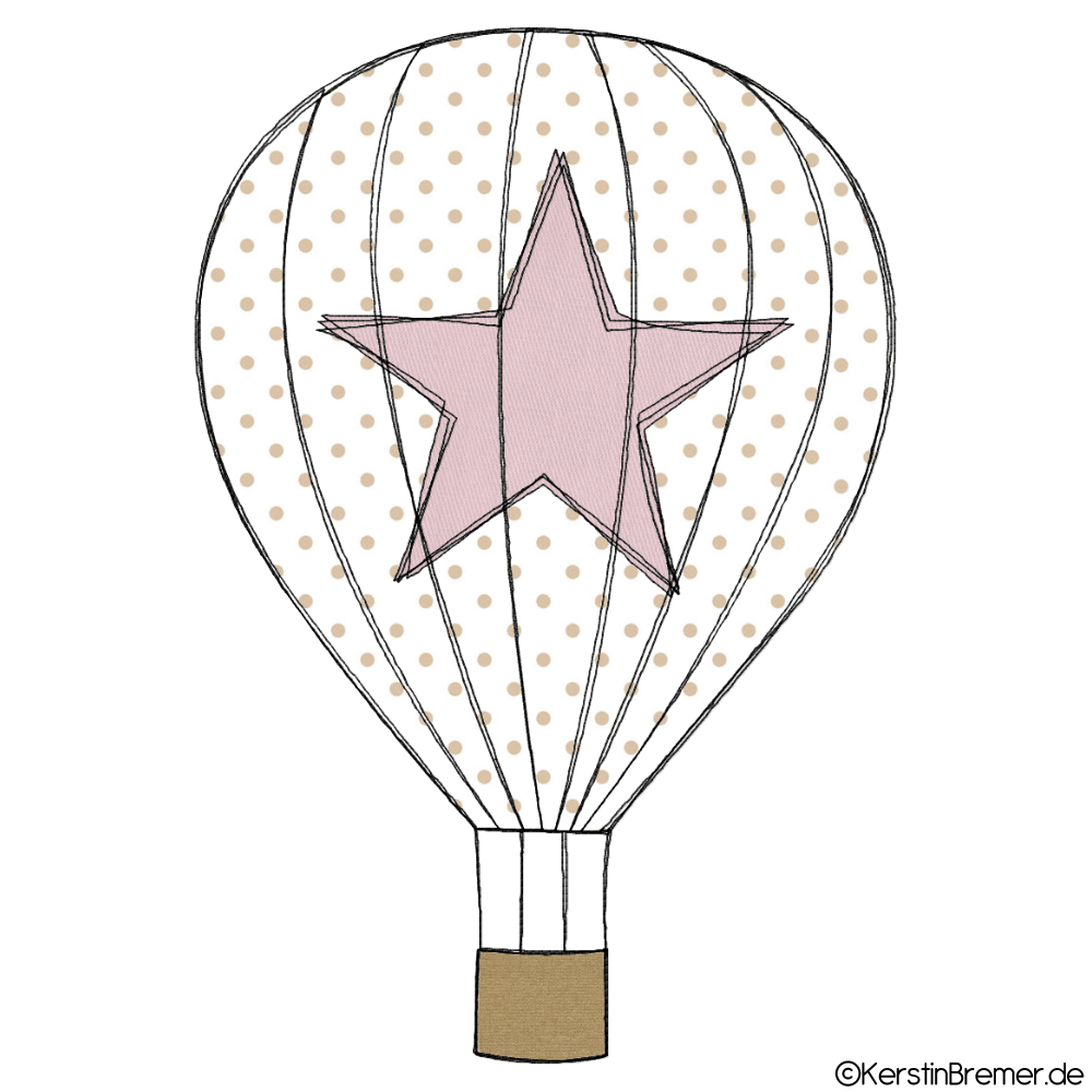 Heißluftballon mit Stern Doodle Stickdatei | Heißluftballon ...