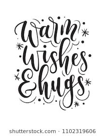 C Stock Quote Classy Warm Wishes And Hugs Lettering Cardhand Drawn Inspirational Winter