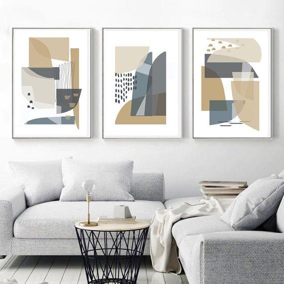 Scandinavian Print Set Of 3 Wall Art Geometric Modern Art Etsy Modern Geometric Art Modern Art Abstract Neutral Wall Art