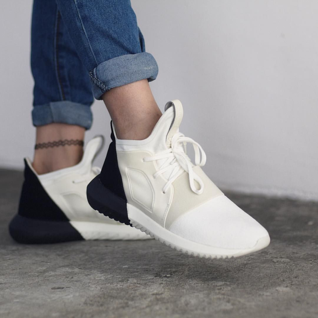 ae226da6a45e0 adidas Tubular Defiant features a combination of black   white colorway for…