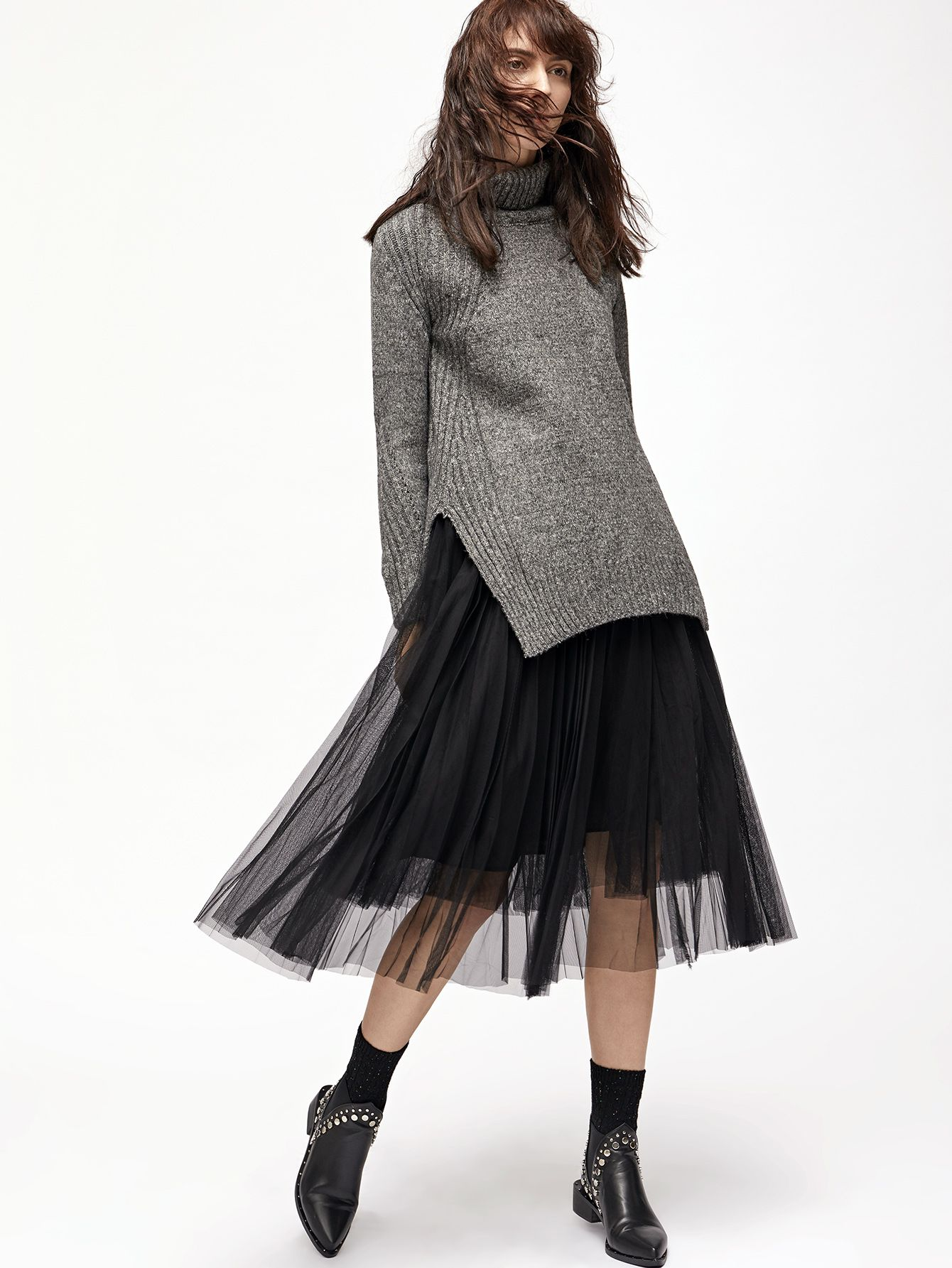 Black Mesh Pleated Elastic Waist Skirt -SheIn(Sheinside)