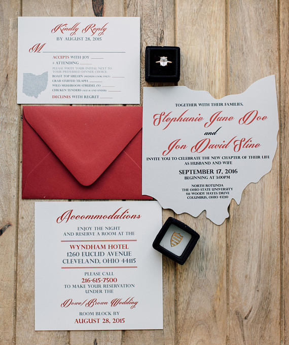 Ohio Cutout Wedding Invitation Scarlet And Grey This Is Perfect For The Osu Fan That Wants To Incorporate Some Local Pride In Their