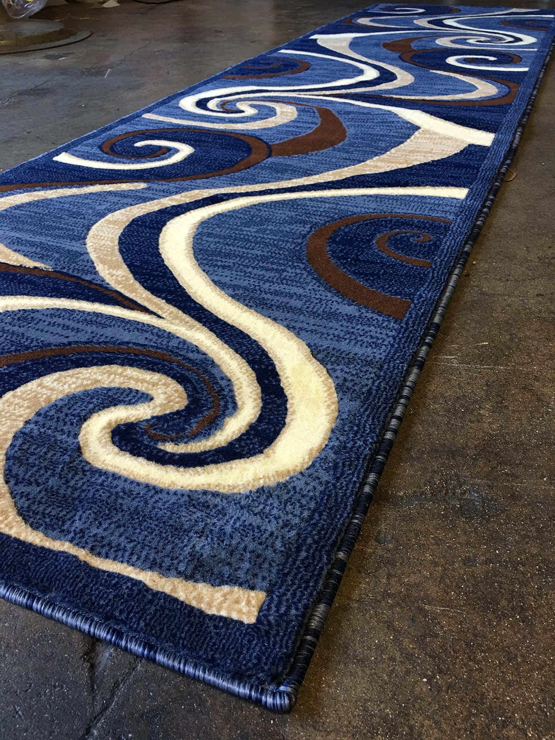 Modern Long Runner Contemporary Rug Blue Brown Beige Abstract Swirl Design 144 32 Inch X 10 Feet More Info Could Contemporary Rug Swirl Design Brown Beige