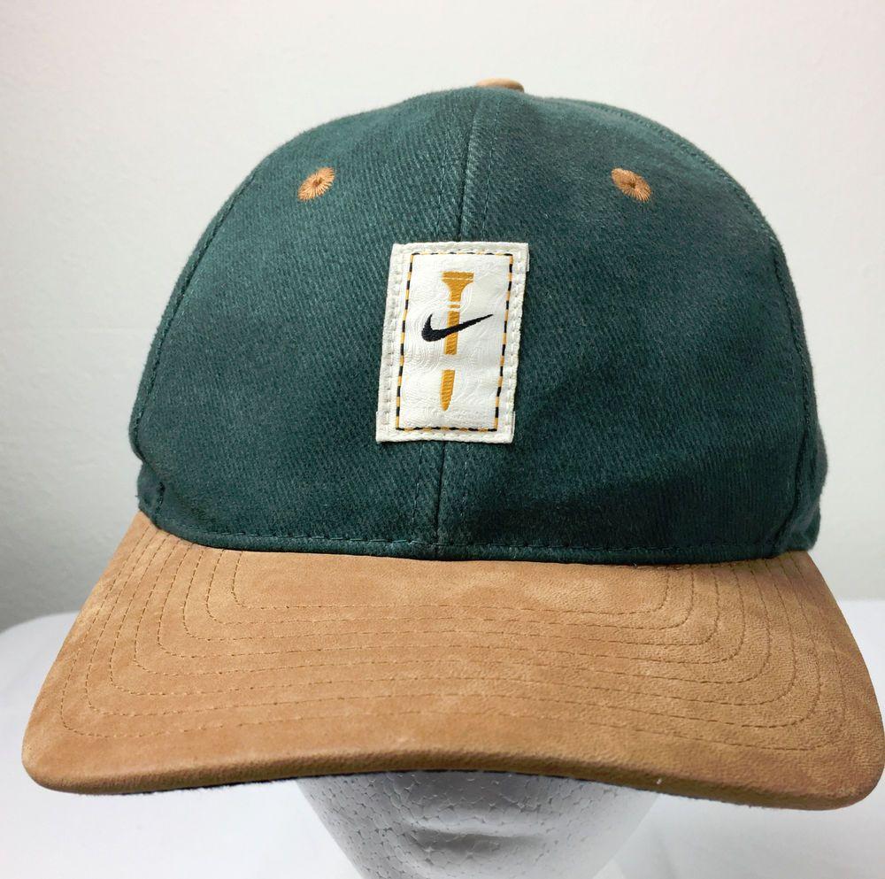 86466daab6627 Retired Nike Golf Green and Tan Leather Bill Swoosh Golf Tee Strapback Hat  Cap  Nike  BaseballCap  NikeGolf  Golf  Golfhat