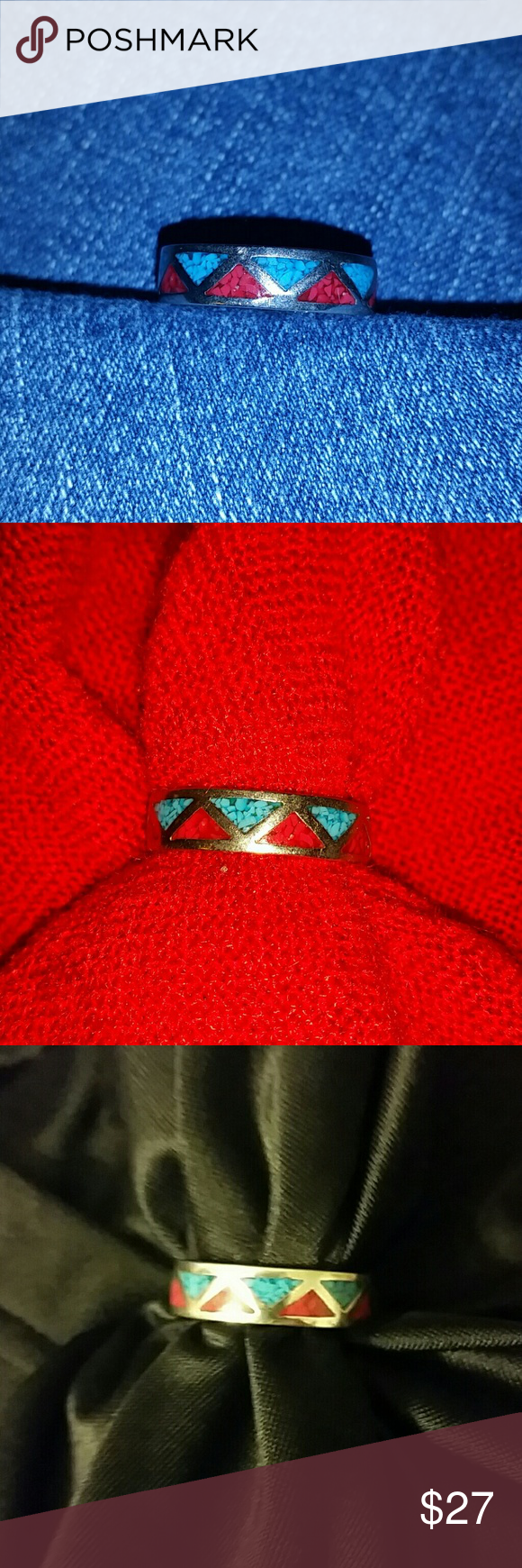 Unisex ring New Mexico SS with inlaid turquoise and red lapis Jewelry Rings