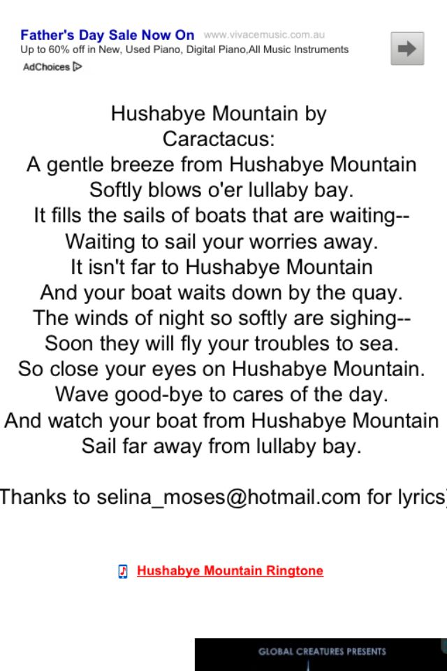 Hushabye Mountain Lyrics Inked Inspiration Pinterest