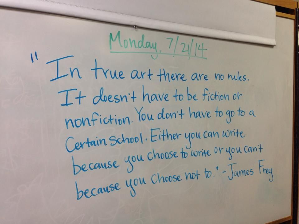 Inspiring writing quote from our writing camp!