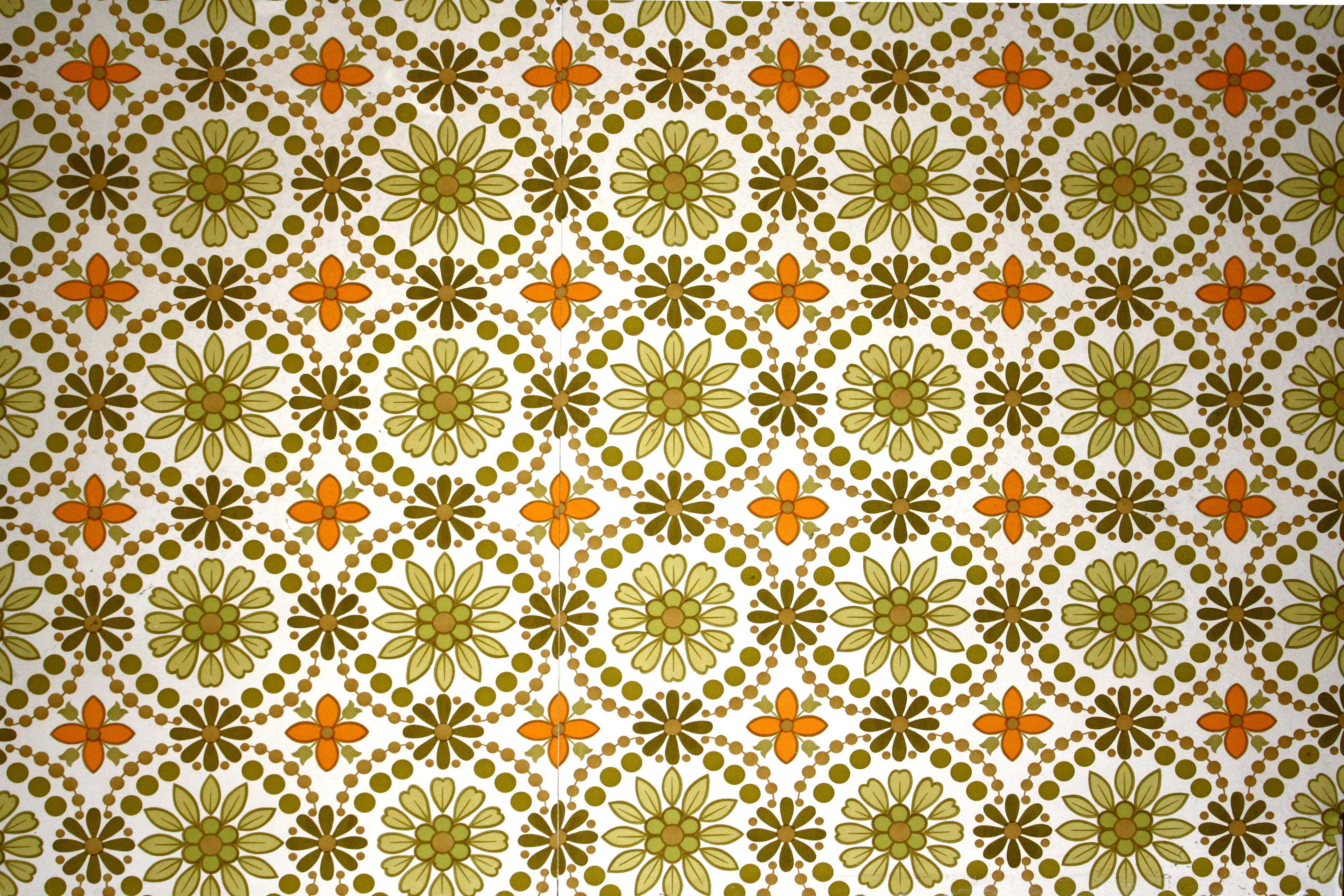 Green And Orange Flower Wallpaper Texture