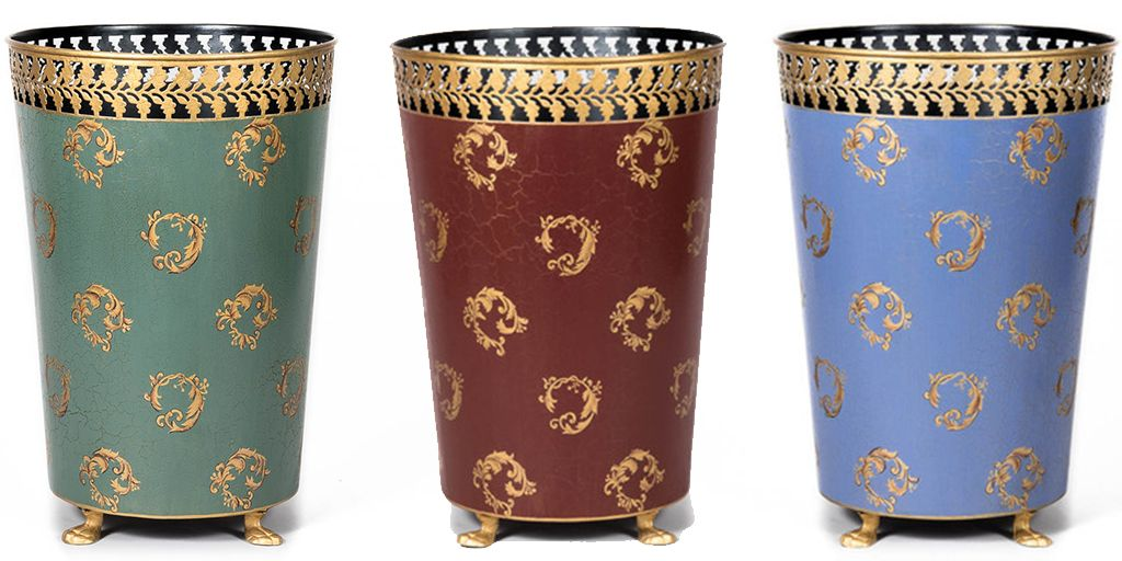Bring the Baroque boldness into your modern day with these lovely waste paper bins, available in 3 colours red,green and sky blue. Lovingly #MadeToBeSeen available to buy at www.MustHaveBins.co.uk or ask about our bespoke service for your next interior design project or boutique hotel project to bring that boutique bedroom feeling.