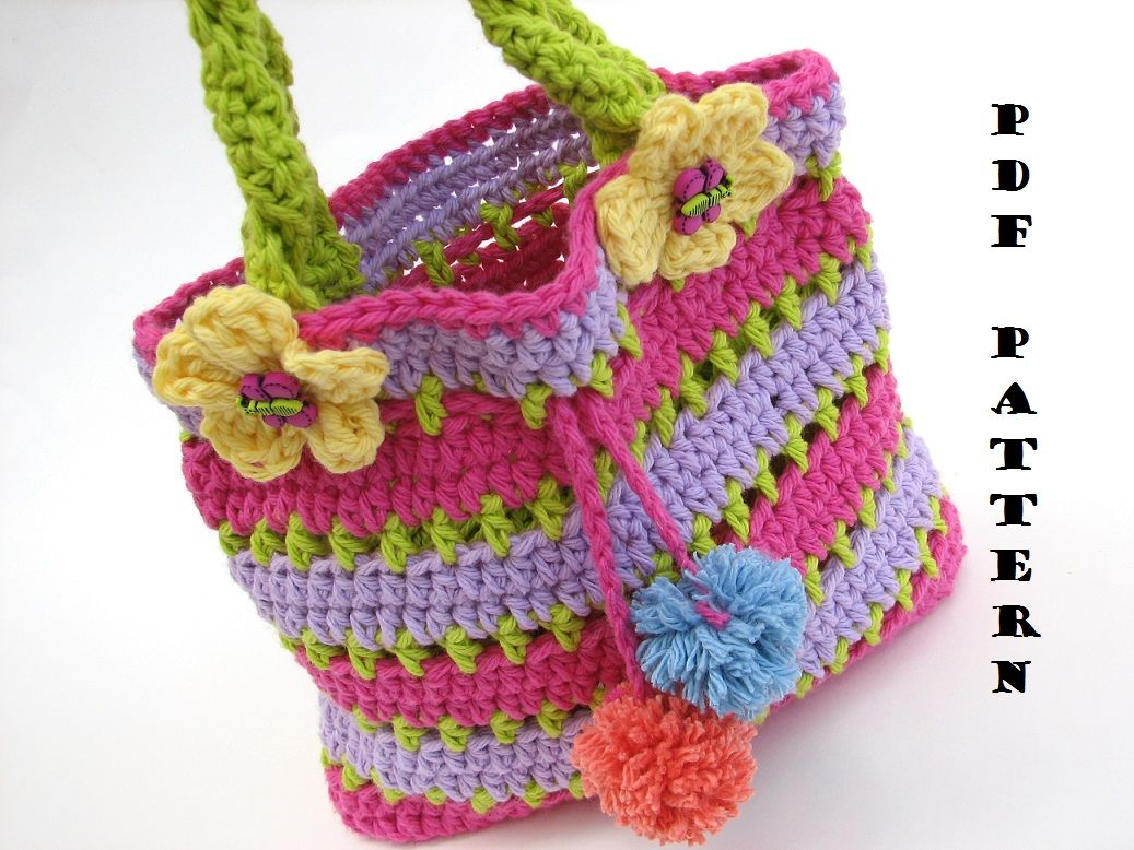 Colorful Girls Bag / Purse, Crochet Girls bags, Crochet ...