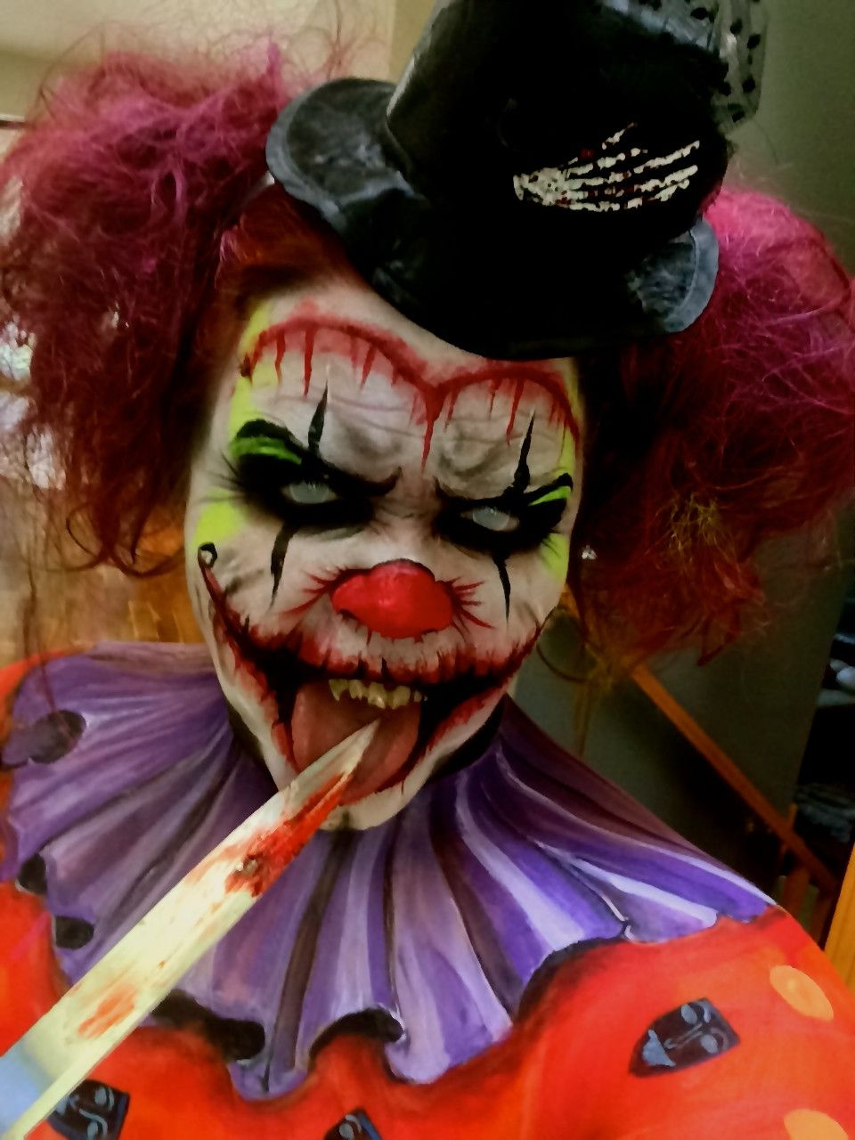 psycho killer clown knives entertainment and halloween makeup