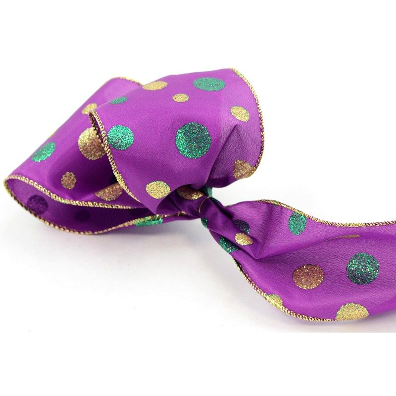 "A 4"" wide Mardi Gras purple ribbon with a gold and green glittered metallic dot pattern. Wired gold edge. 10 yard or 30 feet roll. Product Code: RL1738WY $6.95"