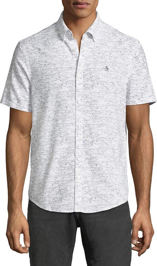 afc29583 Men's Shark-Print Short-Sleeve Oxford Shirt   Stitch Fix - Ryan ...