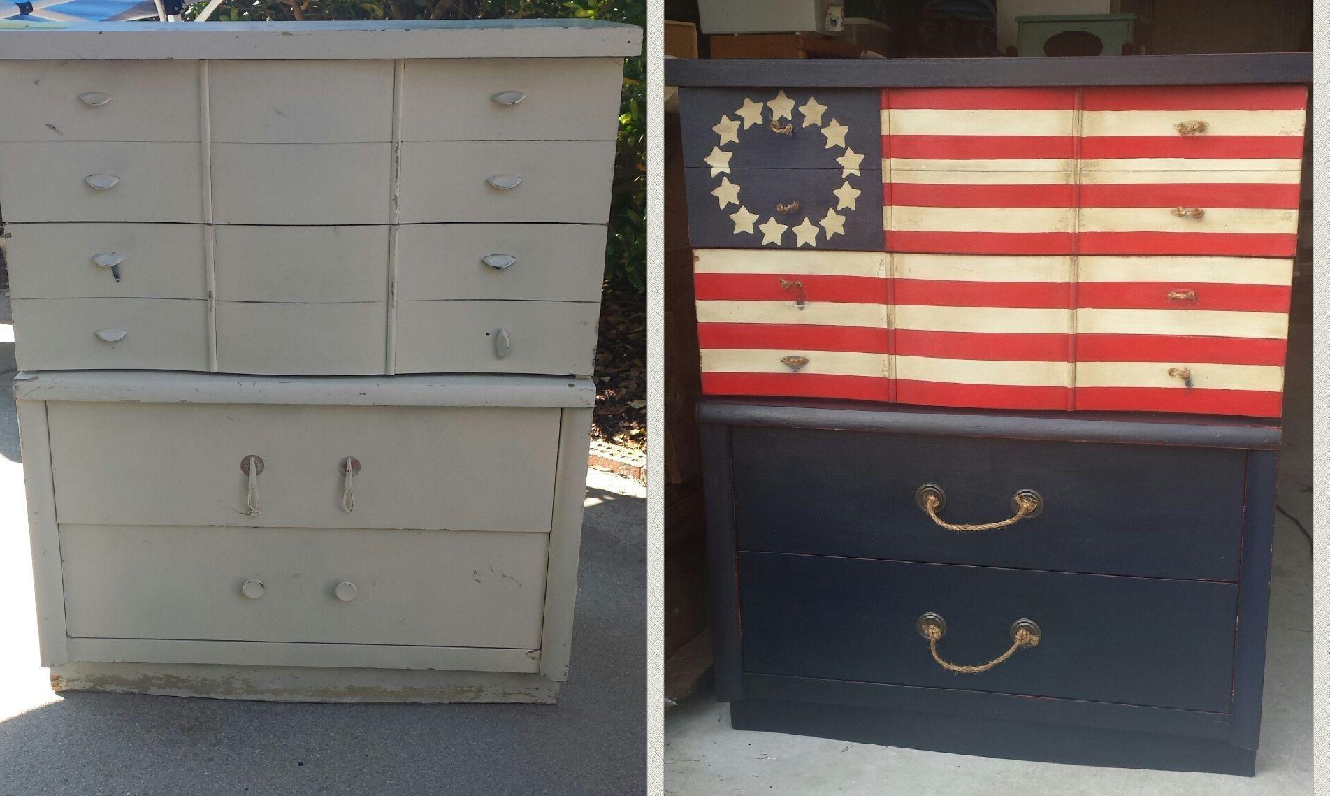 American Flag Painted Furniture Diy