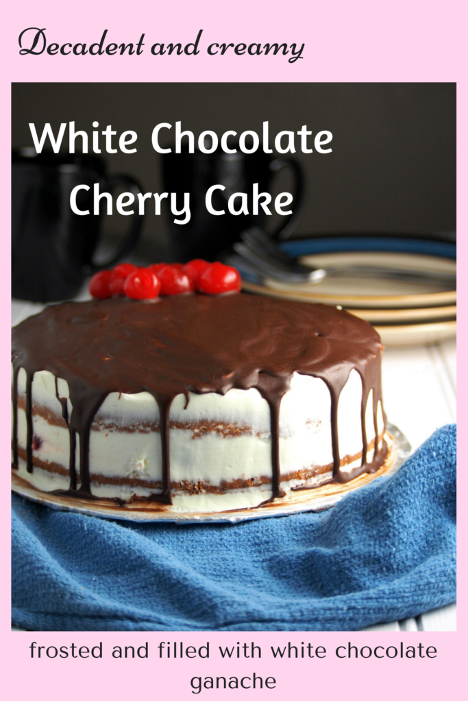 White chocolate cherry cake recipe  which is filled and frosted with white chocolate ganache and finished with semi sweet chocolate dripping.