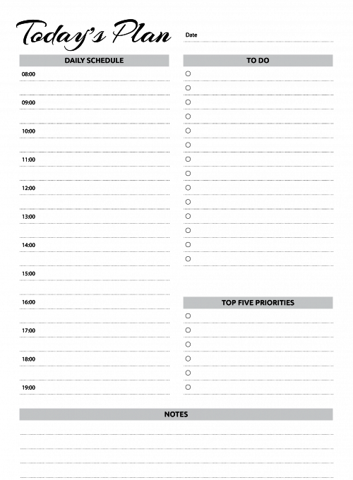 Free Printable Daily Planner Template for Excel PDF Word