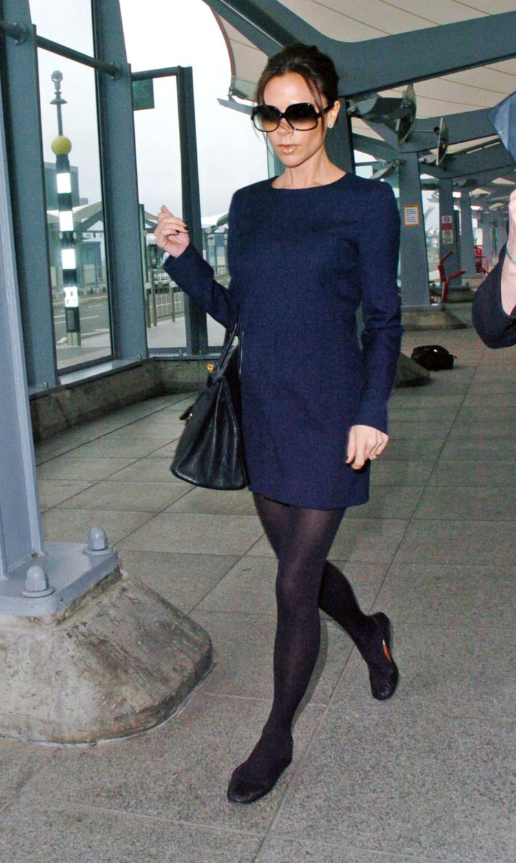 Victoria In A Blue Wool Dress And Flats Fashion Victoria Beckham Style Style [ 1254 x 750 Pixel ]