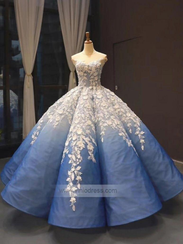 Vintage ombre prom kleider blau ballkleid für teenager f