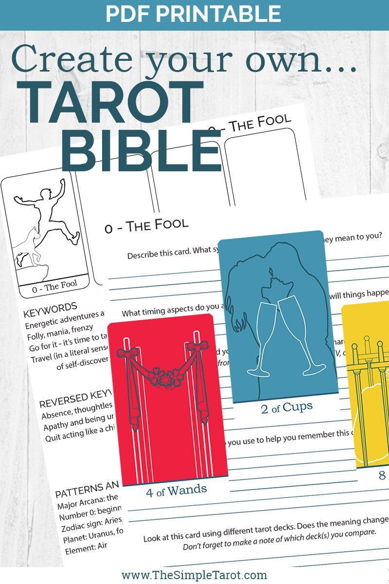 Pdf printable tarot card meanings workbook create your