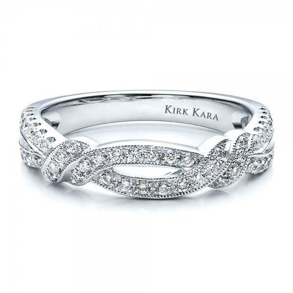 diamond split shank wedding band with matching engagement ring kirk kara - Flat Wedding Rings