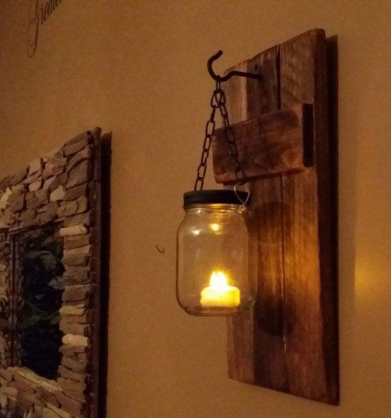 Einmachglas Kerzenhalter, rustikale Dekor, Wandlampen, Einmachgläser, Inneneinrichtungen, rustikale Laterne, Einmachglas Kerze, Preis 1 Stück   – Rustic furniture