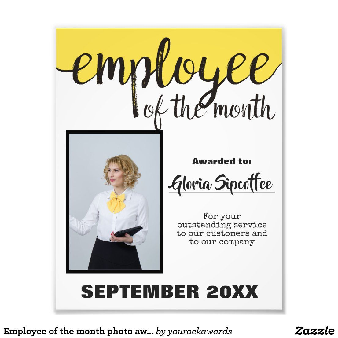 Employee Of The Month Photo Award Certificate Zazzle Com In 2021 Employee Awards Certificates Employee Recognition Board Employee Awards