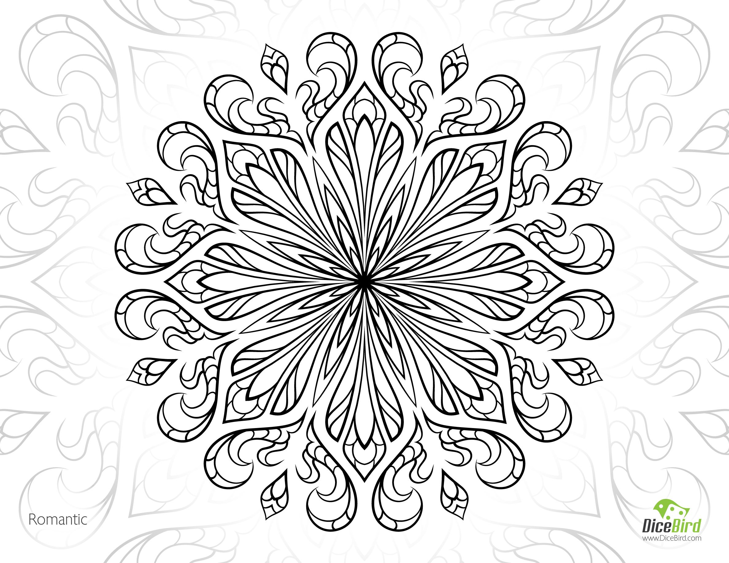 free printable coloring pages for adults advanced Romantic Flower ...