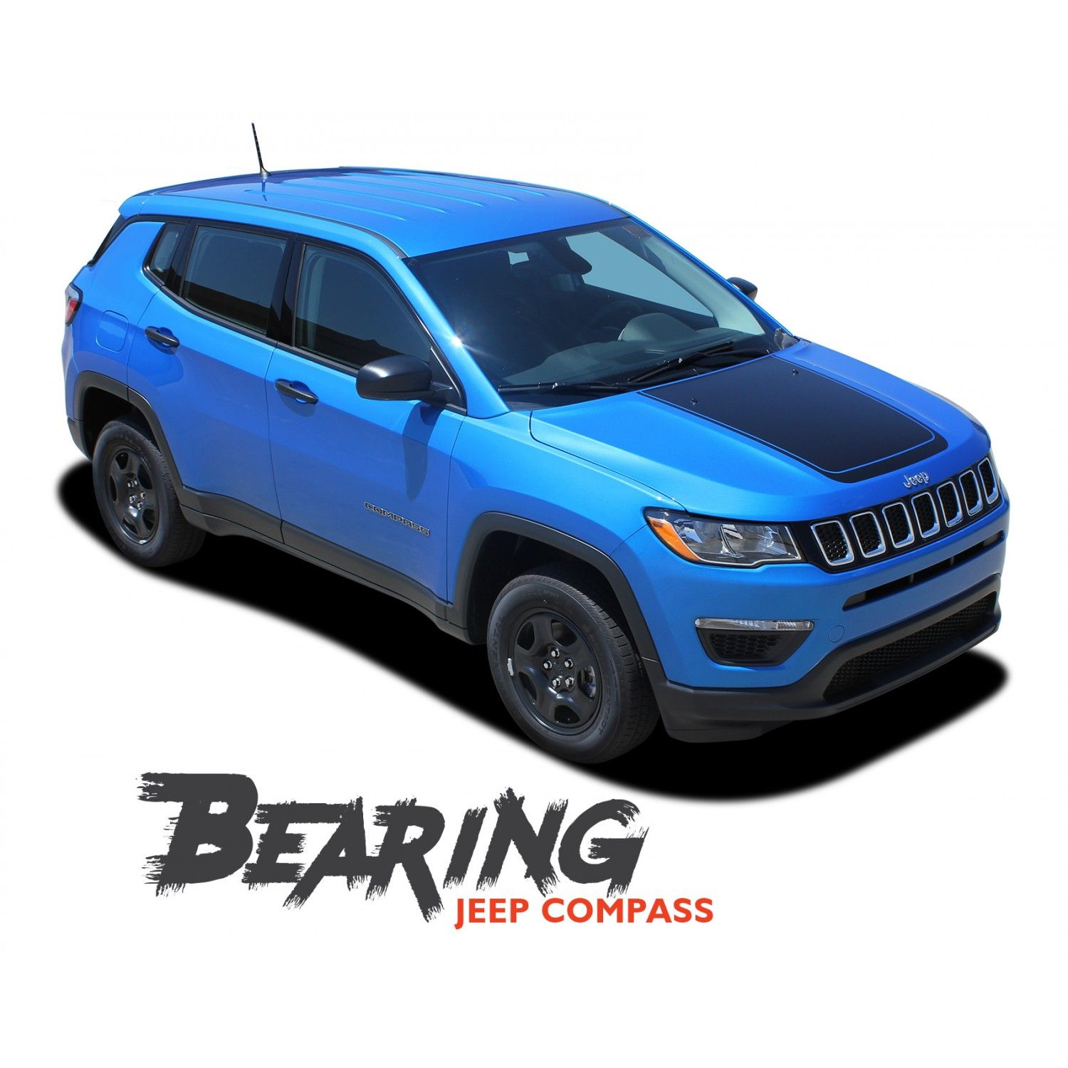 Jeep Compass Bearing Solid Hood Vinyl Graphics Decal Stripe Kit