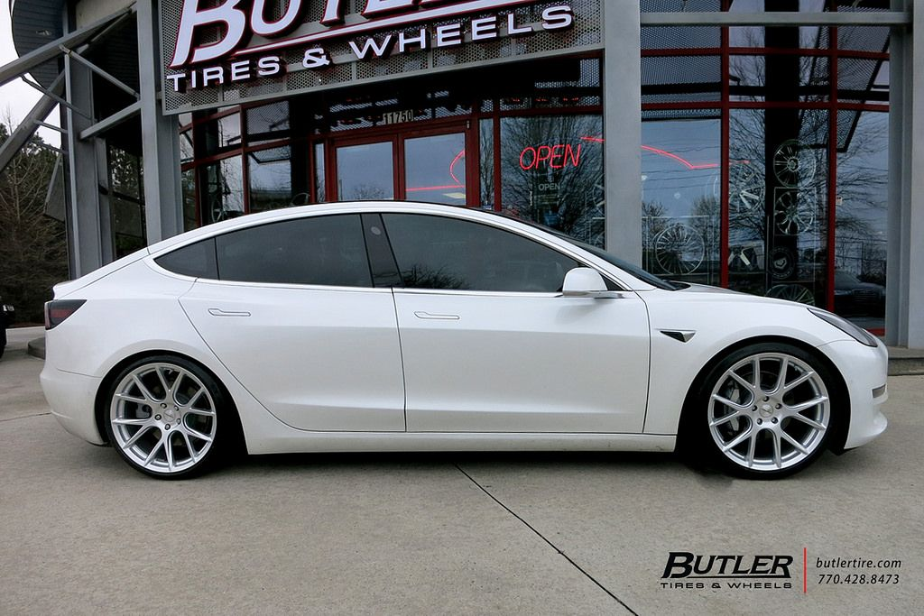 Lowered Tesla Model 3 with 20in Vossen VFS6 Wheels and