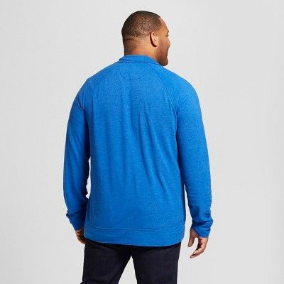 65d56ceb Men's Tall Standard Fit Quarter Zip Long Sleeve Henley Shirt - Goodfellow &  Co Parrish Blue Xlt